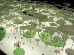 Andrea Branzi, Pineta di Architettura/Pinewood of Architecture, 2007. Simulatore territoriale con visore a specchi / Territorial simulator with mirror viewer.