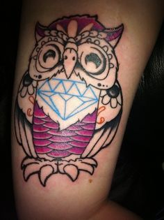 Art purple owl tattoos
