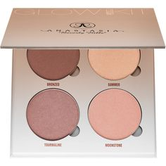Anastasia Beverly Hills Glow Kit ($40) ❤ liked on Polyvore featuring beauty products, makeup, face makeup, beauty, highlighter, fillers, palette, palette makeup, anastasia beverly hills cosmetics and anastasia beverly hills makeup
