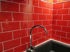 Metro Rojo Brick Kitchen Wall Tile This range of kitchen wall tiles has a Gloss finish, with a...