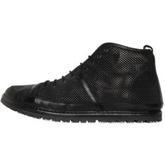 Marsell Men Perforated Nappa Leather Ankle Boots (€510) ❤ liked on Polyvore featuring men's fashion, men's shoes, men's boots, black, mens black shoes, mens shoes, ankle boots mens shoes, mens perforated shoes and marsell mens shoes