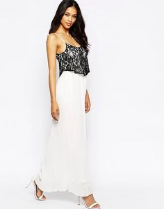 Club L Pleated Maxi Dress with Lace Overlay