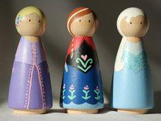 Disney princess peg dolls by AnnieBeePortraits on Etsy