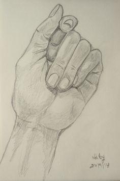 Desenho de uma mão fechada - inspirado em desenho retirado do Pinterest (Malay - 24/9/2014)
