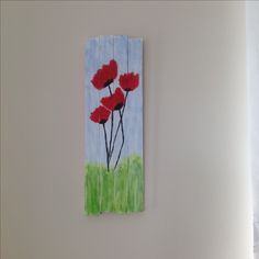 My DIY Wood pallette painting - Red Flower