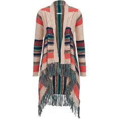blanket cardigan with fringe ($44) ❤ liked on Polyvore featuring tops, cardigans, jackets, sweaters, fringe cardigan, fringe top and cardigan top