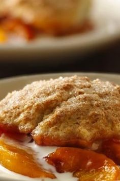 Warm cobbler made with fresh peaches!