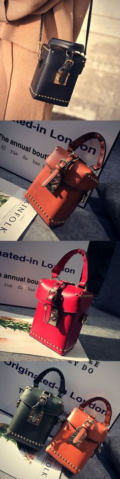 Women PU Leather Retro Rivet Bucket Bag Phone Bag Mini Crossbody Bag