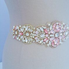 Swarovski Crystal   Pearl Pink Bridal Belt - One of a Kind Hand Stitched 4d8fcd30c58