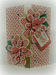 """Pretty Gate-Fold """"You Make Me Smile"""" Card...with dimensional flowers...Brenda Rose: Close To My Heart - Rose Blossom Legacies."""