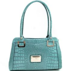 Women's Classic Patent Croco Shoulder Bag with Gold