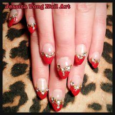 Chinese New Year Nails! Red French with gold glitter over CND acrylic tip extensions.