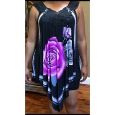 New OSFA plus size 14-20 handkerchief top rose Size: One size fits 14 16 18 20 Beautiful one size fits all top. Recommended for sizes 14-20. Poly spandex. 32 inches at side. 42 inches in front and back. The same design is on the front and back. Colors as shown. Tops