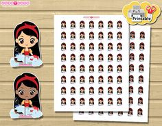 Chibi Clean Dishes Printable planner stickers. Cute por designby2