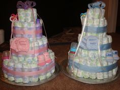 boy and girl diaper cakes for baby showers