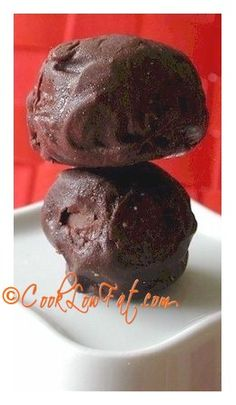 No-bake chocolate cheesecake balls. This easy recipe is delicious and it is low fat! One of the recipes in the new Cook Low Fat Chocolate Cookbook and ebook. Click on the pic for details about the book.