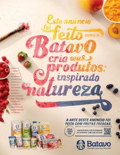 Batavo, first ad print with fruit juice #graphisme