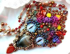 Bead embroidered pendant necklace Labradorite Crystal onion shape faceted Briolette Beadwork seed beaded jewelry OOAK