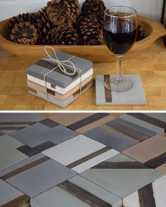 7 Sets Of Concrete Coasters That Will Protect Your Table While Looking Stylish These modern square concrete coasters have strips of hardwood inlayed in them. Cement Art, Concrete Cement, Concrete Furniture, Concrete Crafts, Concrete Projects, Concrete Design, Concrete Planters, Polished Concrete, Motif Hexagonal