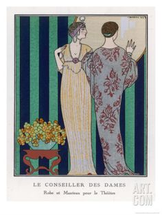 High-Waisted Clinging Gown Giclee Print by Georges Barbier at Art.com