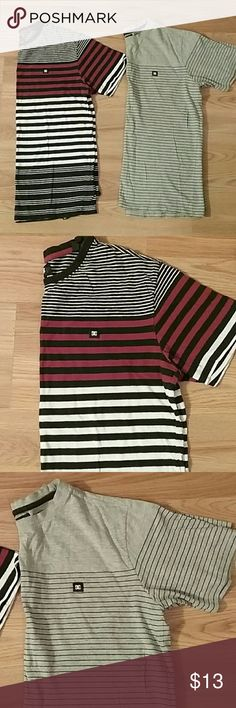 Two DC Striped Tees Both mens Medium: One black white and red striped tshirt and one grey and black striped tshirt both gently used with lots of life left DC Shirts Tees - Short Sleeve