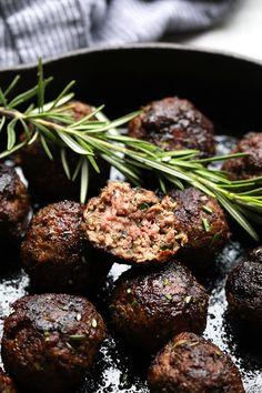 Healthy Rosemary Thyme Balsamic Meatballs