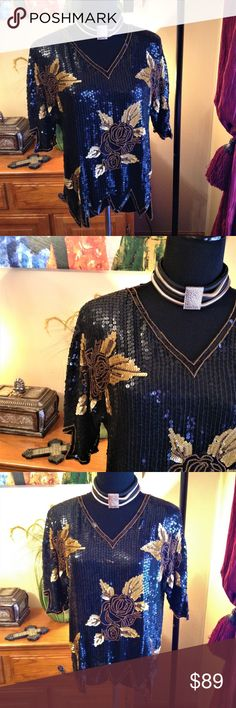 Vintage ROYAL FEELINGS Black &Gold Sequin Silk Top ROYAL FEELINGS Black & Gold V Neck Embellished Sequin Beaded Floral Print  100% Pure Silk Top SHORT SLEEVES W/ BEAUTIFUL BLACK & GOLD SEQUINED DETAIL FLORAL DESIGN,  IRREGULAR HEM LINE Shoulder pad Made in India  PRE OWNED ITEM- very good vintage condition looks amazing Size M(see measurements for true fit) Pit/P 21' Shoulder/Sh 19' Length 24' Sleeve length 9' Stop the show with this classic shiny sparkling top timeless Vintage Tops Blouses