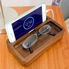 Lacquered Walnut iPhone Dock - Small Nightstand Caddy - Wood Charge Station
