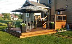 Résultats de recherche d'images pour « patio » Backyard Deck Ideas On A Budget, Patio Decorating Ideas On A Budget, Design Patio, Backyard Patio Designs, Outdoor Gazebos, Backyard Gazebo, House Without Walls, Hot Tub Backyard, Patio Plans