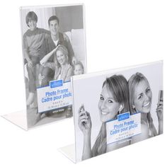 """Lovely plastic frames make pictures appear to float. These """"frameless"""" plastic frames come assorted between L-shaped styles that hold horizontal photos and vertical photos. Constructed of st"""