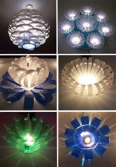 Light fixtures from plastic drink bottles