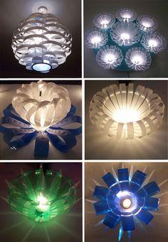Light fixtures from plastic drink bottles