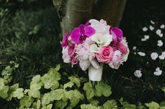 What a dreamy mix pinks in this bouquet of orchids, lilies, and roses! Grand Hyatt, White Lilies, Atlanta Wedding, Photo Look, Flower Crown, Pink Flowers, Peonies, Wedding Details, Floral Arrangements
