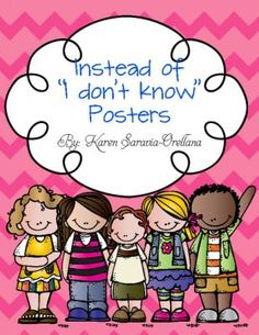"""Instead of """"I Dont Know"""" Wall Posters (Bulletin Board Set)   Teachers Notebook"""