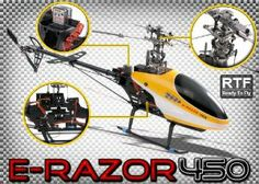 Dynam E-Razor 450 Metal Direct-Belt-Driven Brushless Helicopter Fully-Loaded w/ Lipo, Brushless Motor+ESC Ready to Fly RC Remote Control Radio Rc Remote, Belt Drive, Rc Helicopter, Toy Sale, Radio Control, Easy Install, Helicopters, 3d, Random