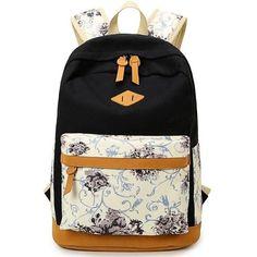 Floral Printed Canvas Material School Bag Backpack For Teenage Girl