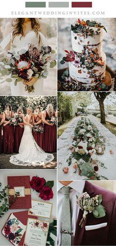 sage green and burgundy outdoor garden wedding colors Burgendy Wedding, Green And Burgundy Wedding, September Wedding Colors, Fall Wedding Colors, September Weddings, Sage Wedding, Rustic Red Wedding, Boho Vintage, Wedding Decorations