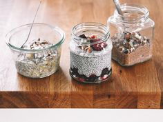 chia pudding, three ways (banana buckwheat coconut, cacao hazelnut, berry almond)
