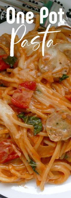 This easy lunch or dinner idea made with garlic sausage, spaghetti, sun dried tomatoes and more is ready in 30 minutes and is made in one pot! So simple, affordable and delicious! Great for busy weeknights and the leftovers are perfect for lunch the next day! Yummy Pasta Recipes, Best Dinner Recipes, Dinner Dishes, Food Dishes, Sausage Spaghetti, Basil Pasta, Good Food, Yummy Food, One Pot