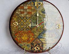 """Часы """"Старинная мозаика"""" - старинные часы,модные часы,подарок на новоселье"""