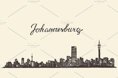 Johannesburg skyline (South Africa) by Bakani on Business Brochure, Business Card Logo, Pencil Illustration, Graphic Illustration, Johannesburg Skyline, Africa Tattoos, Travel Scrapbook, Creative Sketches, Paint Markers