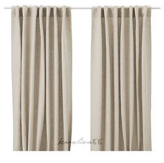 Aina pair of curtains made from 100% Linen, Beige Tan drapes from IKEA  #IKEA #Contemporary