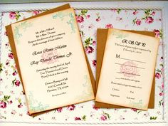 Pink and turquoise flower hand stamped wedding invitation set