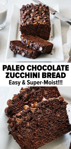 The BEST chocolate zucchini bread that's gluten-free, dairy-free and paleo. It's moist, scrumptious and has a rich dark chocolate aroma. Paleo Dessert, Healthy Sweets, Dessert Recipes, Paleo Menu, Gluten Free Zucchini Bread, Zucchini Bread Recipes, Gluten Free Baking, Healthy Chocolate Zucchini Bread, Dairy Free Chocolate
