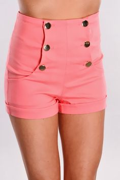 Pink Stretch Fit High Waist Shorts