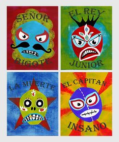 These four prints of Mexican wrestlers Señor Bigote, El Capitan Insano, La Muerte and El Rey Junior add a touch of international fun to any room. They're made with recycled cardstock and eco-friendly ink. Kids Wall Decor, Playroom Decor, Nursery Decor, Decor Room, Room Art, Mexican Wall Art, Mexican Wrestler, Baby Mine, Colored Pencils