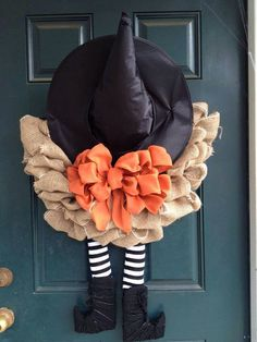 Witch Burlap Halloween Wreath by tiffanynewcomb on Etsy