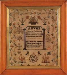 Silk on linen sampler dated 1841, wrought by Sarah Rappel with central hymn surrounded by birds, flowers, butterflies, etc.