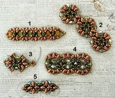 Linda's Crafty Inspirations: Playing with my beads.Rose and Green Samples (I love the bottom, especially, maybe for a chain. Beaded Earrings Patterns, Jewelry Patterns, Bracelet Patterns, Beading Patterns, Seed Bead Jewelry, Beaded Jewelry, Handmade Jewelry, Beaded Braclets, Bracelets