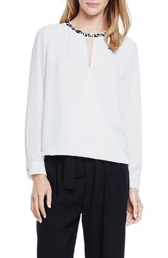 Vince Camuto Embellished Neck Faux Wrap High/Low Blouse available at #Nordstrom